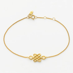 Tibetan love knot bracelet in gold plate