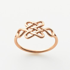 Tibetan love knot ring in gold or rose gold plate