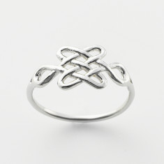 Tibetan love knot ring in silver