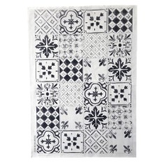 Black tiles linen tea towel