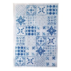 Blue tiles linen tea towel