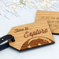 Personalised wooden explore luggage tag