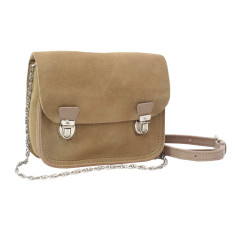 Tiny satchel in soft sand suede leather