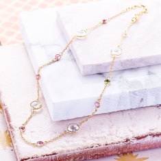 Sofia Shorter Gemstone Station Necklace In Gold Plate