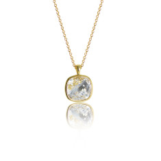 Crystal & Yellow Gold Vermeil Cushion Pendant