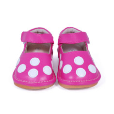 Pink Leather Mary Jane Squeaky Shoes for Toddlers