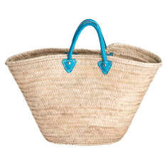 Large basket with turquoise leather handles
