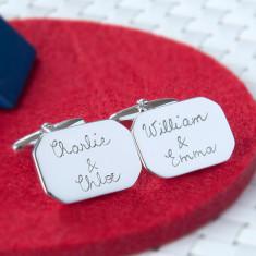Men's personalised sterling silver octagonal cufflinks