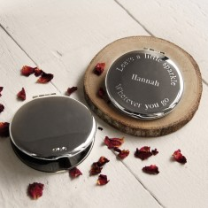 Personalised Compact Mirror with Diamante Detail