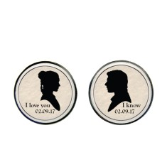 Personalised Stars wars Princess Leia & Hans Solo cufflinks