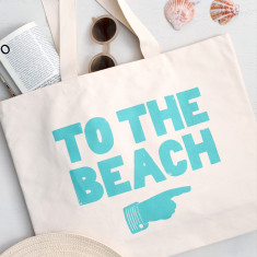 To The Beach Canvas Beach Bag