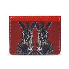 Zebra Love Red Vegan Leather Credit Card Holder