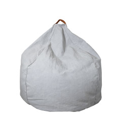 Teardrop Bean Bag With Handle Feature - Canvas/Leather in Light Grey