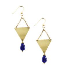 Solid brass and cobalt blue Czech glass earrings
