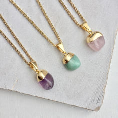 Mini Tumbled Crystal Pendant Necklace