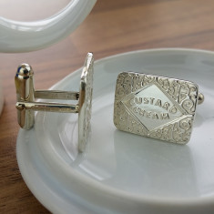 Silver Custard Cream Cufflinks