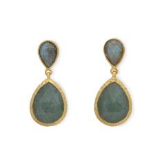 Green Aventurine and Labradorite Earrings