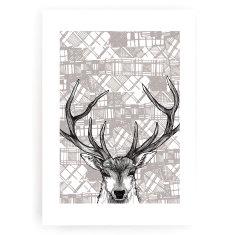 Tartan stag art print
