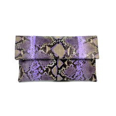 Lilac motif python leather classic foldover clutch bag