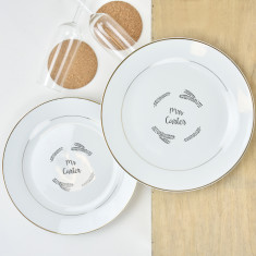Personalised Mr And Mrs Gold Plate Pair