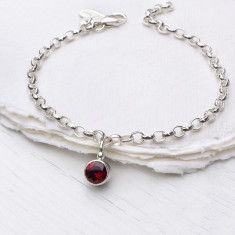 Garnet Charm Bracelet, January Birthstone