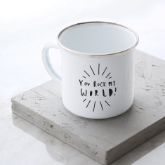 You Rock My World Enamel Mug