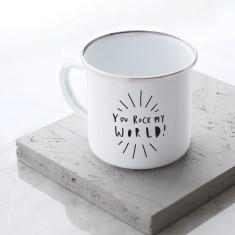 You Rock My World Enamel Mug