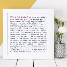 What is love typographic print