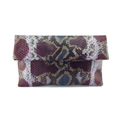 Plum and denim blue motif python leather classic foldover clutch