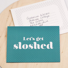 Let's get sloshed invitation card