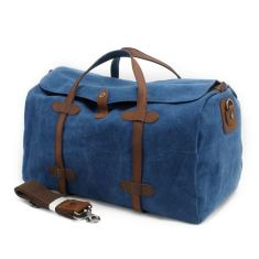 Canvas weekend duffle bag in blue