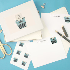 Personalised typewriter notecards writing set