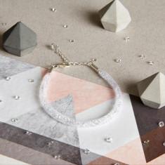 Glitzerland - Skinny Crystal White Mesh Bracelet