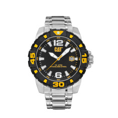 CAT DP series watch in steel with black & yellow face