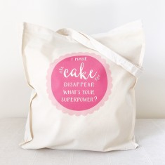 Superpowers cake tote bag
