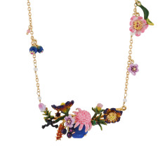 Blue Stone and Giverny's Garden Multi Flowers Long Necklace