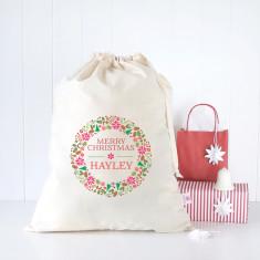 Floral wreath personalised Santa sack