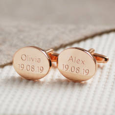 Personalised Rose Gold Cufflinks