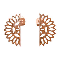 Lace edge small earrings in rose gold plate