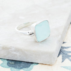 Candy Rawa Ring In Silver With Aqua Chalcedony