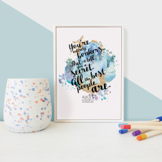 Alice in Wonderland entirely bonkers quote - framed mini print