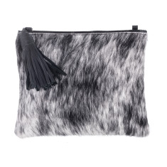 Mickey Black + White Leather Clutch