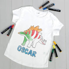 Personalised Colour Your Own Dinosaur T Shirt Kit