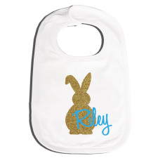 Personalised Easter bling bunny bib in blue or mint