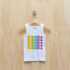 Personalised rainbow gradient girl singlet