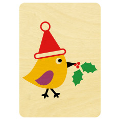 Chirpy bird wooden Christmas postcard