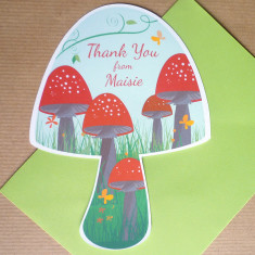 Personalised toadstool thank you cards (set of 10)