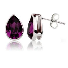 Amethyst teardrop stud earrings