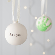 Personalised Hand Print Ceramic Bauble