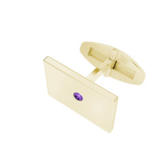 Rectangular Yellow Gold Cufflinks Amethyst